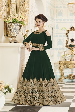 Staggering DarkGreen Georgette Heavy Embroidery Coding and Stone Work  Salwar Kameez
