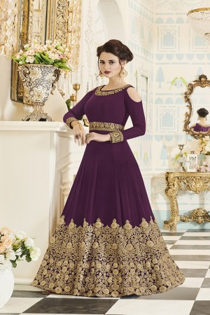 Vibrant Wine Georgette Heavy Embroidery Coding and Stone Work  Salwar Kameez