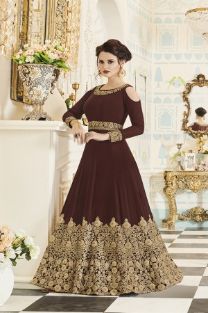Glowing  Brown Georgette Heavy Embroidery Coding and Stone Work  Salwar Kameez