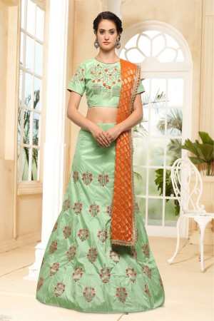 Voluptuous Green Silk Heavy Embroidery Coding and Stone Work Lehenga Choli