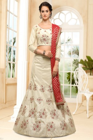 Wondrous Chiku Silk Heavy Embroidery Coding and Stone Work Lehenga Choli