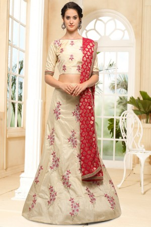 Blooming Chiku Silk Heavy Embroidery Coding and Stone Work Lehenga Choli