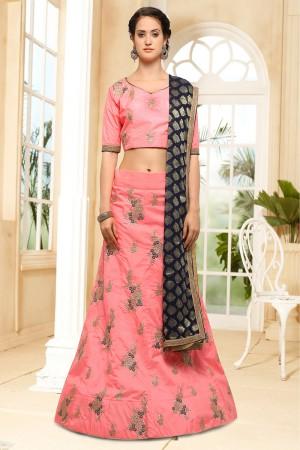 Delightful Pink Silk Heavy Embroidery Coding and Stone Work Lehenga Choli