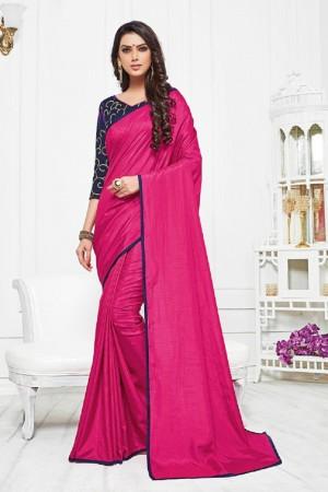 Enticing Rani Pink Silk Plain Saree with Embroidery Blouse Saree