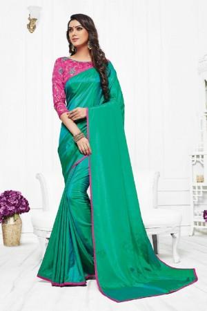 Striking Green Silk Plain Saree with Embroidery Blouse Saree