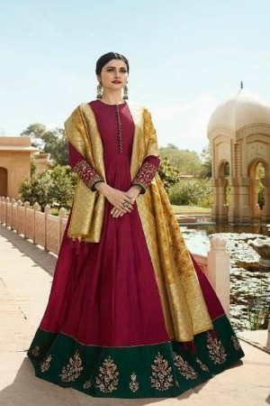 Prachi Desai Maroon Silk Zari Embroidery Work on Sleeve and Butta Work in Lace Border Anarkali gown
