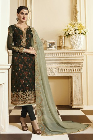 Distinctive Dark green Georgette Heavy Embroidery on Neck and Sleeve with Embroidery Dupatta  Salwar Kameez