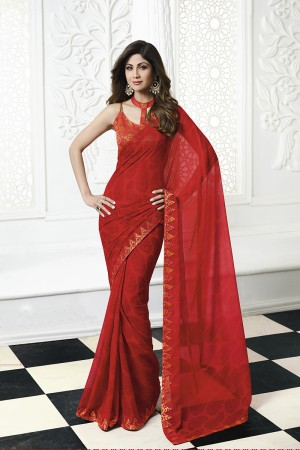 Shilpa Shetty Red Chiffon Print with Lace Border Saree