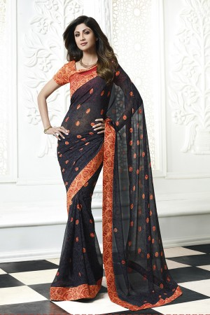 Shilpa Shetty Black Georgette Print with Lace Border Saree