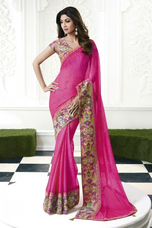 Shilpa Shetty Pink Chiffon Print with Lace Border Saree