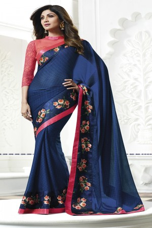 Shilpa Shetty Blue Satin  Print with Lace Border Saree