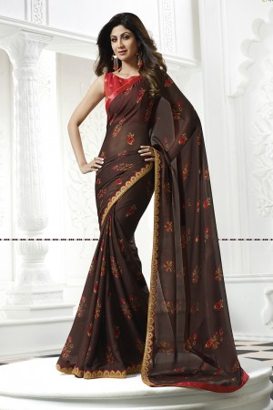Shilpa Shetty Brown Chiffon Print with Lace Border Saree