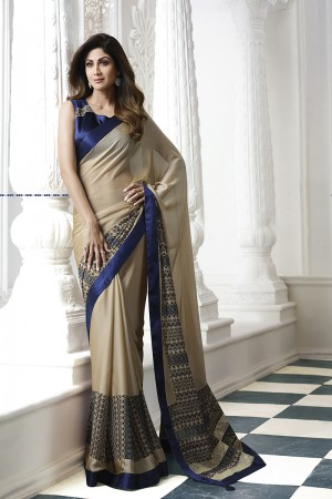 Shilpa Shetty Chiku Rangoli Print with Lace Border Saree