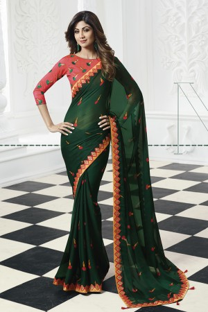 Shilpa Shetty DarkGreen Chiffon Print with Lace Border Saree