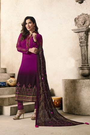 Sophie Choudry Wine Georgette Heavy Embroidery on Neck and Sleeve with Embroidery Dupatta  Salwar Kameez