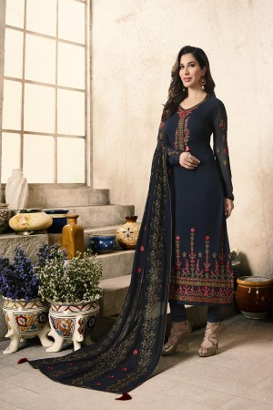 Sophie Choudry DarkBlue Georgette Heavy Embroidery on Neck and Sleeve with Embroidery Dupatta  Salwar Kameez