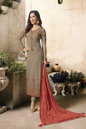 Sophie Choudry Chocolate Georgette Heavy Embroidery on Neck and Sleeve with Embroidery Dupatta  Salwar Kameez