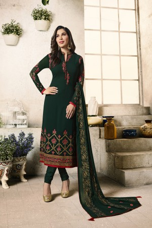 Sophie Choudry Dark Green Georgette Heavy Embroidery on Neck and Sleeve with Embroidery Dupatta  Salwar Kameez