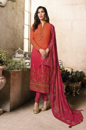 Sophie Choudry Shaded Orange Georgette Heavy Embroidery on Neck and Sleeve with Embroidery Dupatta  Salwar Kameez