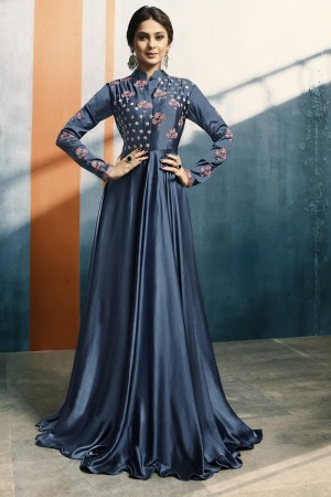 Jennifer Winget Blue SatinSilk Embroidery with Hand Work Kurti