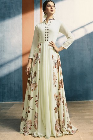 Jennifer Winget White Georgette & Crepe Collar Work with Applique Work Kurti