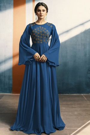 Jennifer Winget Blue Georgette Embroidery & Hand Work Kurti