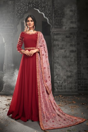 Classy Red Georgette Heavy Embroidery on Neck and Sleeve with Embroidery Dupatta  Salwar Kameez