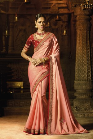 Breezy Peach Silk Heavy Embroidery Badala Zari and Sequance Work with Multi Color Resham Work Saree