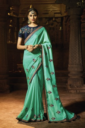 Trendy Sea Green Silk Heavy Embroidery Badala Zari and Sequance Work with Multi Color Resham Work Saree