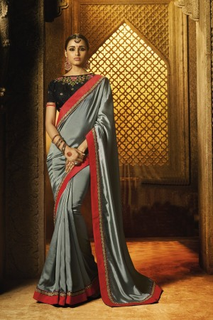 Versatile Grey Silk Heavy Embroidery Badala Zari and Sequance Work with Multi Color Resham Work Saree