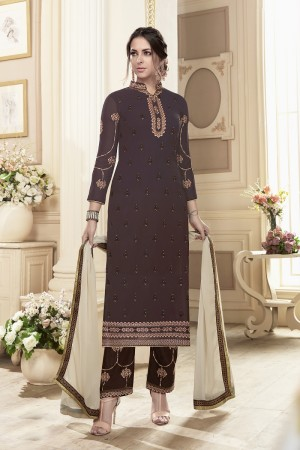 Tremendous Brown Georgette Heavy Embroidery on Neck and Sleeve with Embroidery on Bottom  Salwar Kameez