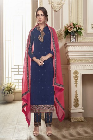 Outstanding Navy Blue Georgette Heavy Embroidery on Neck and Sleeve with Embroidery on Bottom  Salwar Kameez