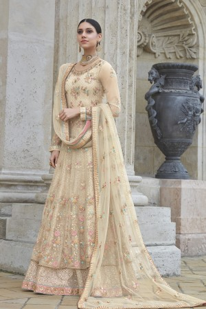 Unique Cream Net Heavy Embroidery Sequance, Coding & Thread Work with Embroidery Dupatta  Salwar Kameez