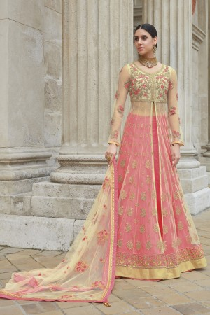 Amazing Cream Net Heavy Embroidery Sequance, Coding & Thread Work with Embroidery Dupatta  Salwar Kameez