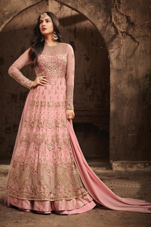 Outstanding Pink Net Heavy Embroidery Sequance, Thread Kali Work Salwar Kameez