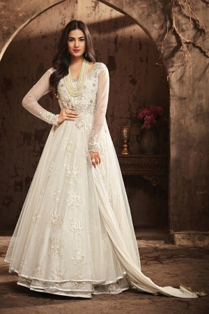 Definitive White Net Heavy Embroidery Coding, Thread & Diamond Work Salwar Kameez