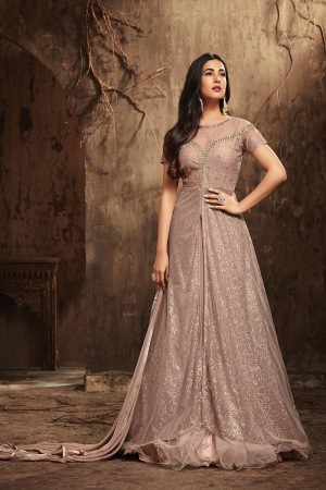 Enigmatic Dusty Pink Net Heavy Embroidery Sequance & Diamond Work  Salwar Kameez