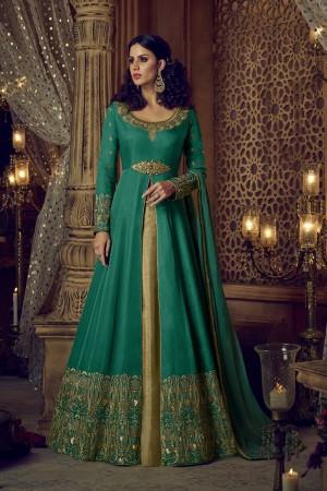 Superb Green Silk Heavy Embroidery Zari Sequance Thread & Diamond Work  Salwar Kameez