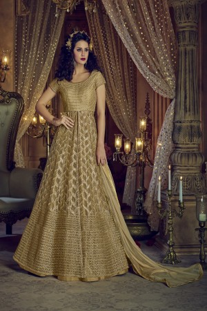 Modest Cream Net Heavy Embroidery Coding & Diamond Work  Salwar Kameez