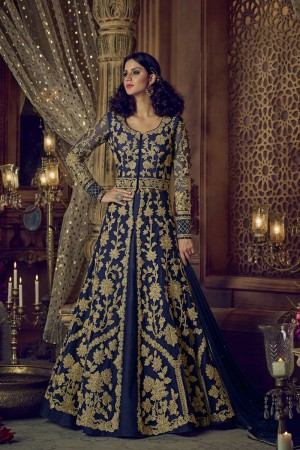 Vogue Navy Blue Net Heavy Embroidery Coding & Diamond Work  Salwar Kameez