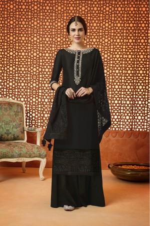 Exquisite Black Cotton Satin Heavy Embroidery  Salwar Kameez