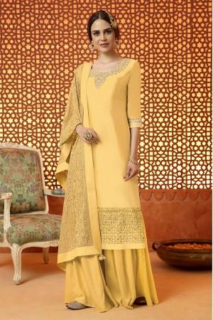 Brilliant Mustard Cotton Satin Heavy Embroidery Salwar Kameez