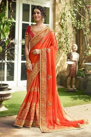 Captivating Orange Silk Heavy Embroidery Zari, Thread and Coding Work  Saree