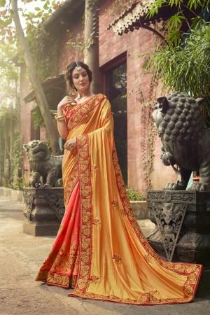 Luscious Mustard&Peach Silk Heavy Embroidery Zari, Thread and Coding Work  Saree
