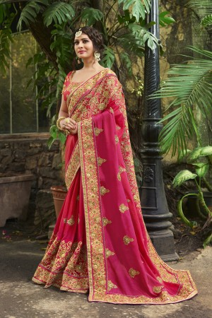 Ethnic Pink Silk Heavy Embroidery Zari, Thread and Coding Work  Saree