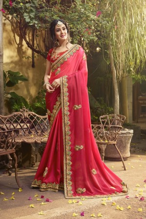 Engrossing Pink Silk Heavy Embroidery Zari, Thread and Coding Work  Saree