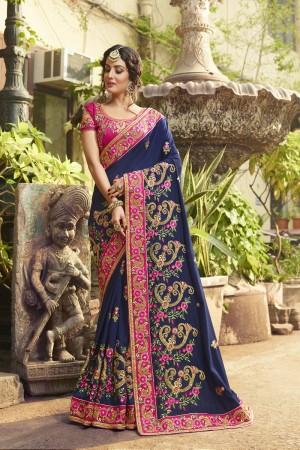 Ambitious Blue Silk Heavy Embroidery Zari, Thread and Coding Work  Saree