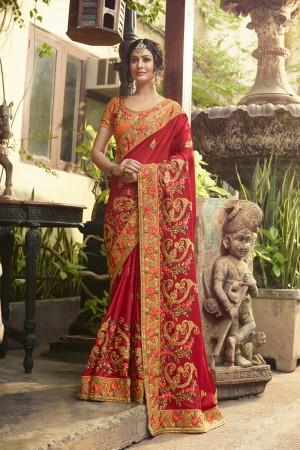 Astounding Red Silk Heavy Embroidery Zari, Thread and Coding Work  Saree