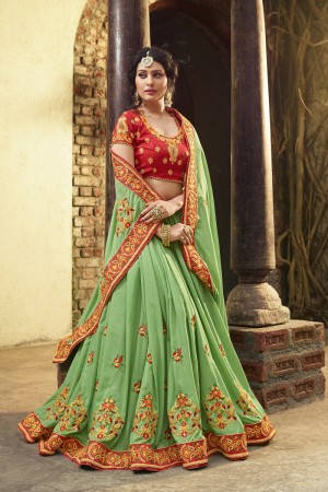 Ravishing Light Green Silk Heavy Embroidery Zari, Thread and Coding Work  Saree