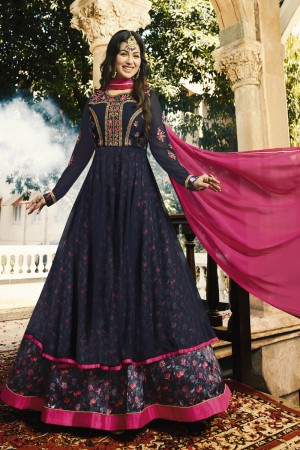 Ayesha Takia Blue Georgette Heavy Embroidery Zari, Thread & Diamond Work  Salwar Kameez